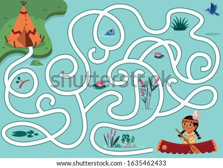 Can you help the native girl to find the village? Vector puzzle game for kids. Native American Girl maze Game For Kids. Vector illustration.