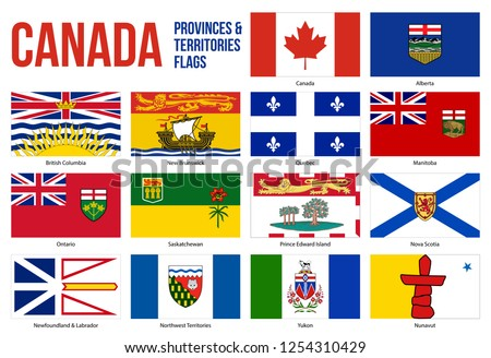 Canada All Provinces & Territories Flag Vector Illustration on White Background. Flags of Canada. Correct Size, Proportion and Colors.