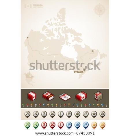 Canada and North America Maps plus cartography symbols