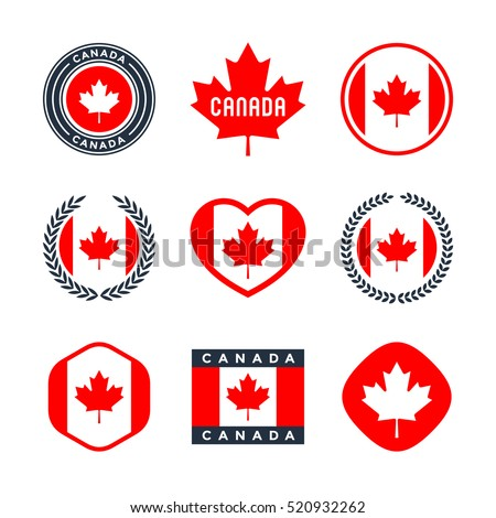 Canada, canadian flag, red maple leaf - collection of vector icons, labels, stickers and badges