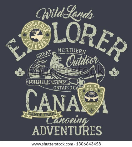 Canada canoe trail outdoor adventure vector artwork for boy wear with applique patches grunge effect in separate layer