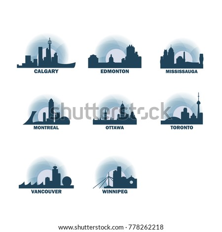 canada cities icons set