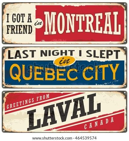 canada cities vintage metal...