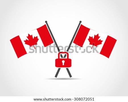 canada crossed flags emblem