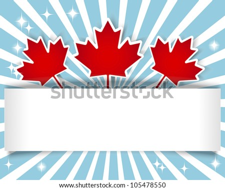 Canada Day. Holiday Banner with stickers and maple leaves. 10 EPS. Vector illustration.
