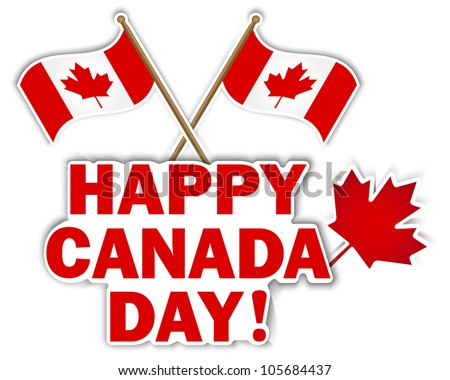 Canada Day stickers with maple leaf and flags. 10 EPS. Vector illustration.