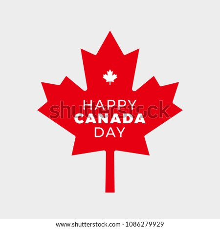 Canada Day Vector Illustration. Happy Canada Day Holiday Poster Design. Red Canadian Leaf Isolated on a white background.