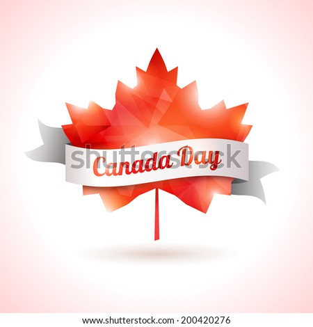 Canada day, vector illustration. Maple leaf with white ribbon. Abstract triangular shape. Symbol of Canada.