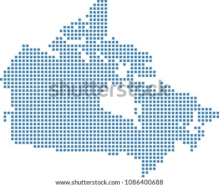 Canada dotted map. Canada map dots. Highly detailed pixel art Canada map vector outline illustration in blue background