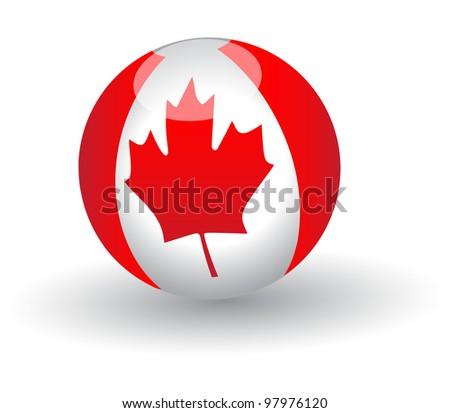 Canada  flag Globe.Vector - stock vector