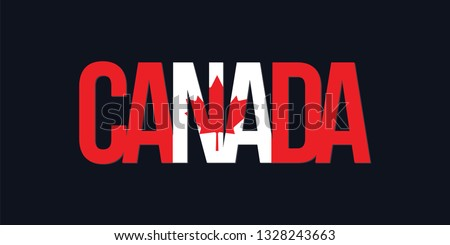 Canada flag. Montreal text lettering with flag illustration. Canada word with flag design. Canadian Fag.