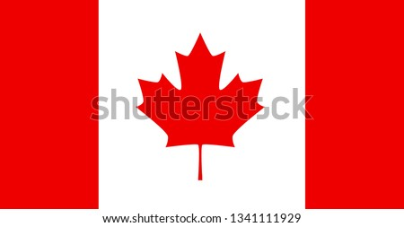 Canada flag, official colors and proportion correctly. National Canada flag.