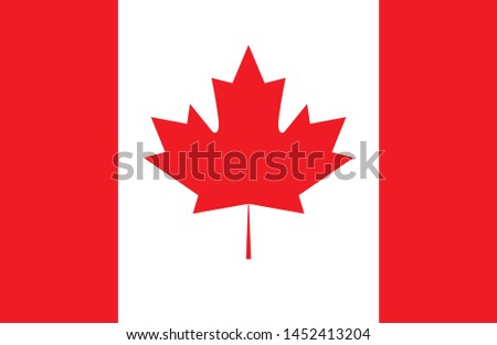 Canada flag, official colors and proportion correctly. National Canada flag. Vector illustration.