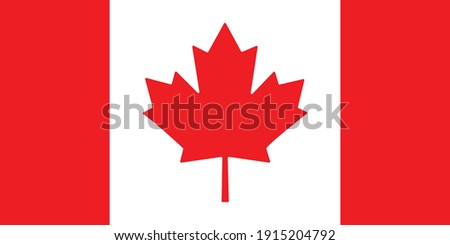 Canada flag, official colors and proportion correctly. National Canada flag. Vector illustration. EPS 10.