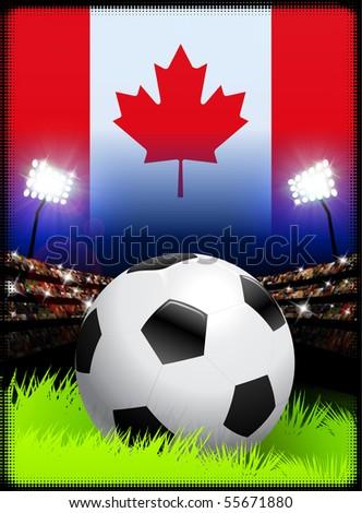 Canada Flag on Stadium Background during Soccer Event Original Illustration