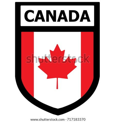 Canada Flag Shield Patch. Vector.