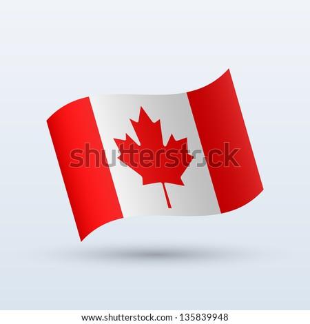 canada flag waving form on gray