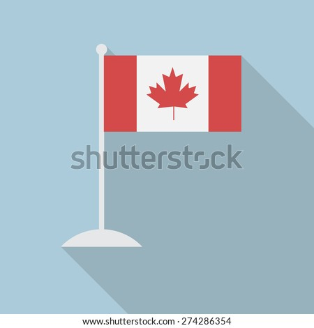 canada flag with flagpole flat