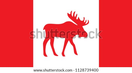 Canada Flag with Moose Silhouette. Vector.