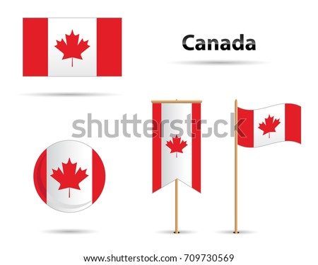 canada flags set  with maple