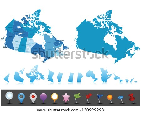 Canada highly detailed map.All elements are separated in editable layers clearly labeled Vector