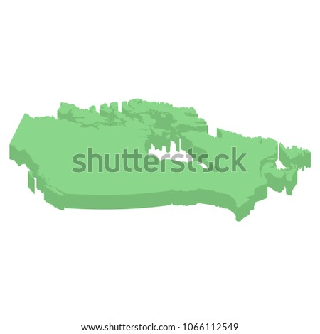 Canada isometric map of American country