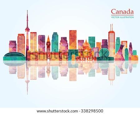 canada landmark skyline vector