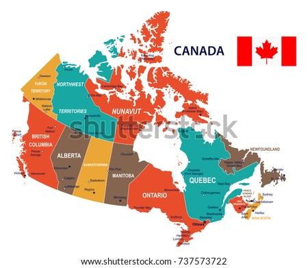 canada map and flag vector illustration
