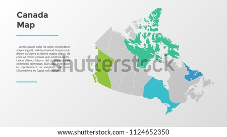 Canada map divided into provinces or regions with modern borders. Geographic location indication. Infographic design template. Vector illustration for presentation, brochure, touristic website.