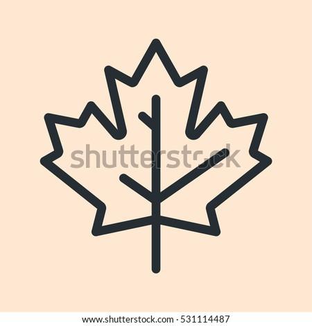 Canada Maple Leaf Minimal Flat Line Outline Stroke Icon Pictogram Symbol