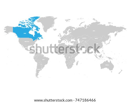 Canada marked by blue in grey World political map. Vector illustration.