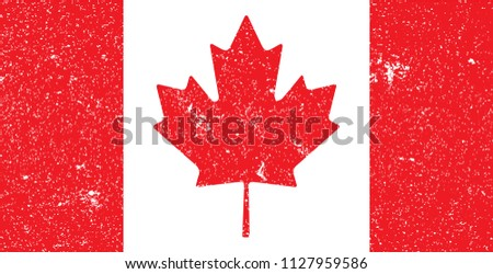 Canada National Flag Grunge. Vector.
