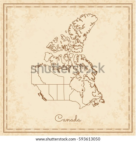 canada region map  stilyzed old ...