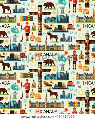 canada travel seamless pattern. ...