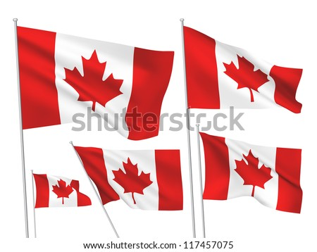 Canada vector flags set. 5 wavy 3D cloth pennants fluttering on the wind. EPS 8 created using gradient meshes isolated on white background. Five fabric flagstaff design elements from world collection