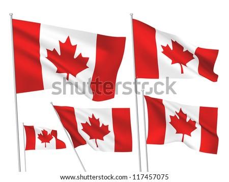 canada vector flags set 5 wavy
