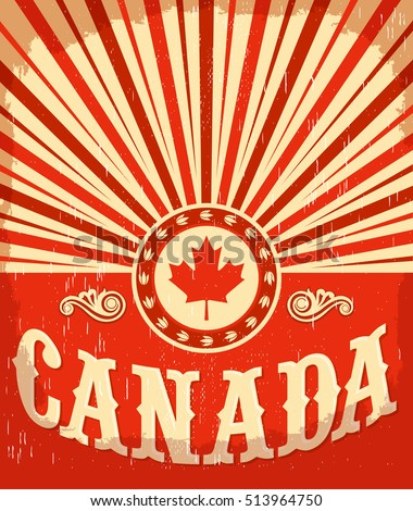 canada vintage old poster with...