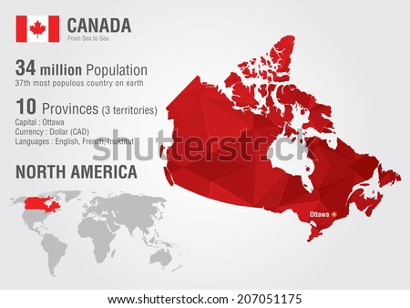 Canada map vector download free vector art stock graphics images canada world map with a pixel diamond texture world geography gumiabroncs Images