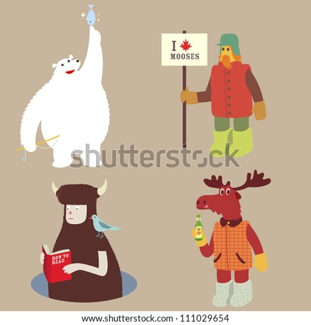 Canadian character set Polar bear moose and book reader