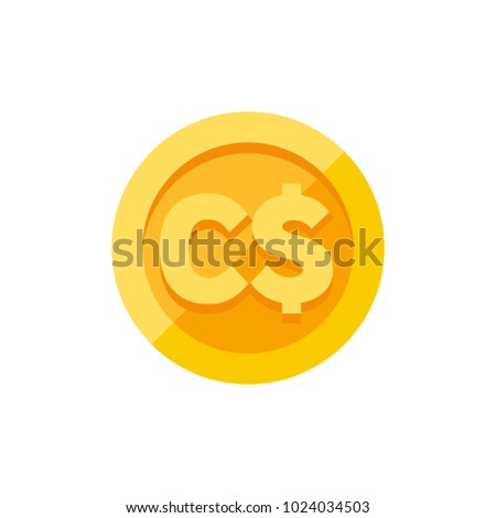 Canadian dollar currency symbol on gold coin, money sign flat style vector illustration isolated on white background
