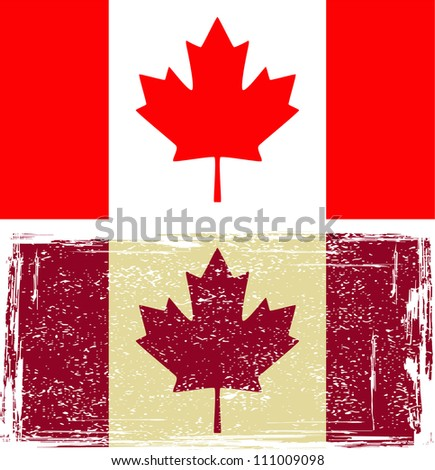 Canadian flags. Grunge effect can be cleaned easily.