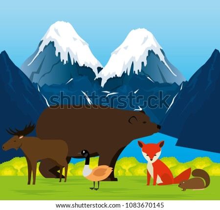 canadian landscape with animals