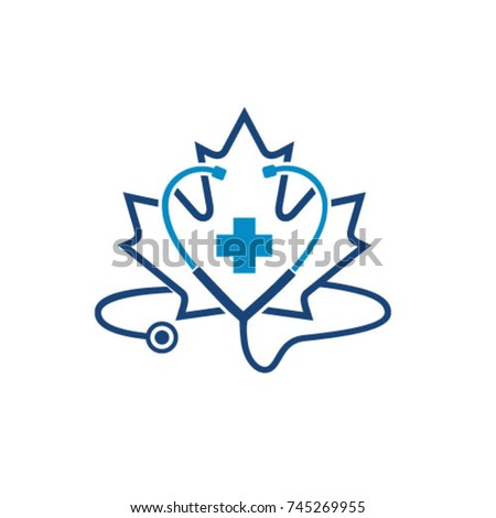 Canadian medical, Canada healthcare logo icon template