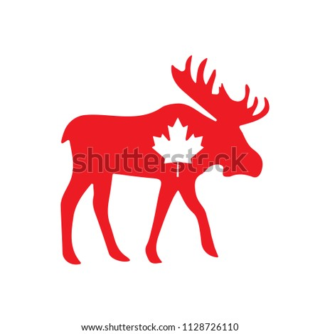 Canadian Moose with Maple Leaf Illustration Red. Vector.
