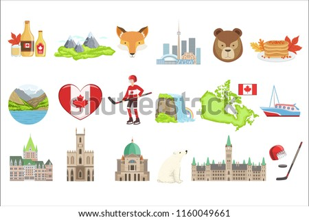 Canadian National Symbols Set Of Items. Isolated Objects Representing Canad Foto stock ©