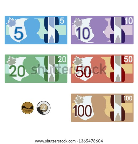 Canadian style money bills & coins  Foto stock ©