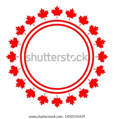 Canadian symbolism flag maple leaf abstract round frame or logo symbol