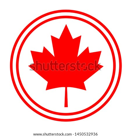 Canadian symbolism flag maple leaf abstract round logo symbol