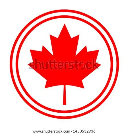 Canadian symbolism flag maple leaf abstract round logo symbol