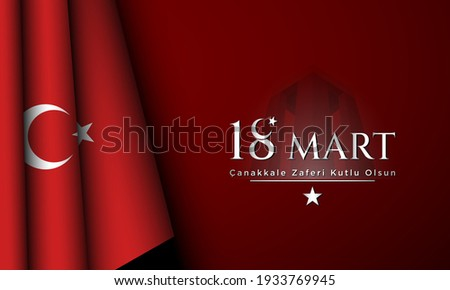 Canakkale Victory Day Background Design. Translate : 18th of March, Happy Canakkale Victory Day. Vector Illustration.